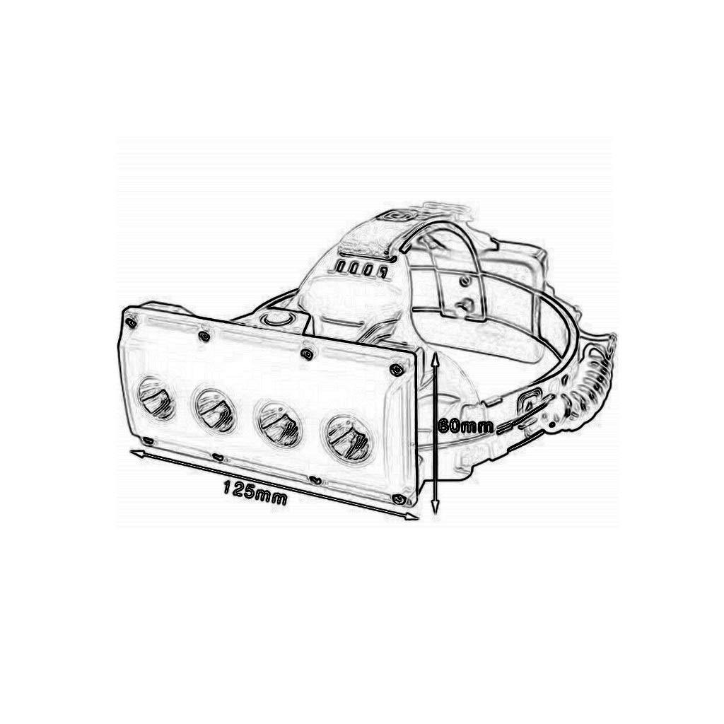 Lampe Frontale /Éblouissement Grand Angle Projecteur Quatre Perles De Lampe T6 LED USB Charge Lampe De Mineur