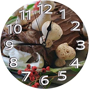 Angel Rainbow Christmas Yule Log Cake Home Wall Clock Non-Ticking Silent Decorative Clocks Battery Operated Decor Round Indoor Kitchen Personality Decoration Bedroom Living Room