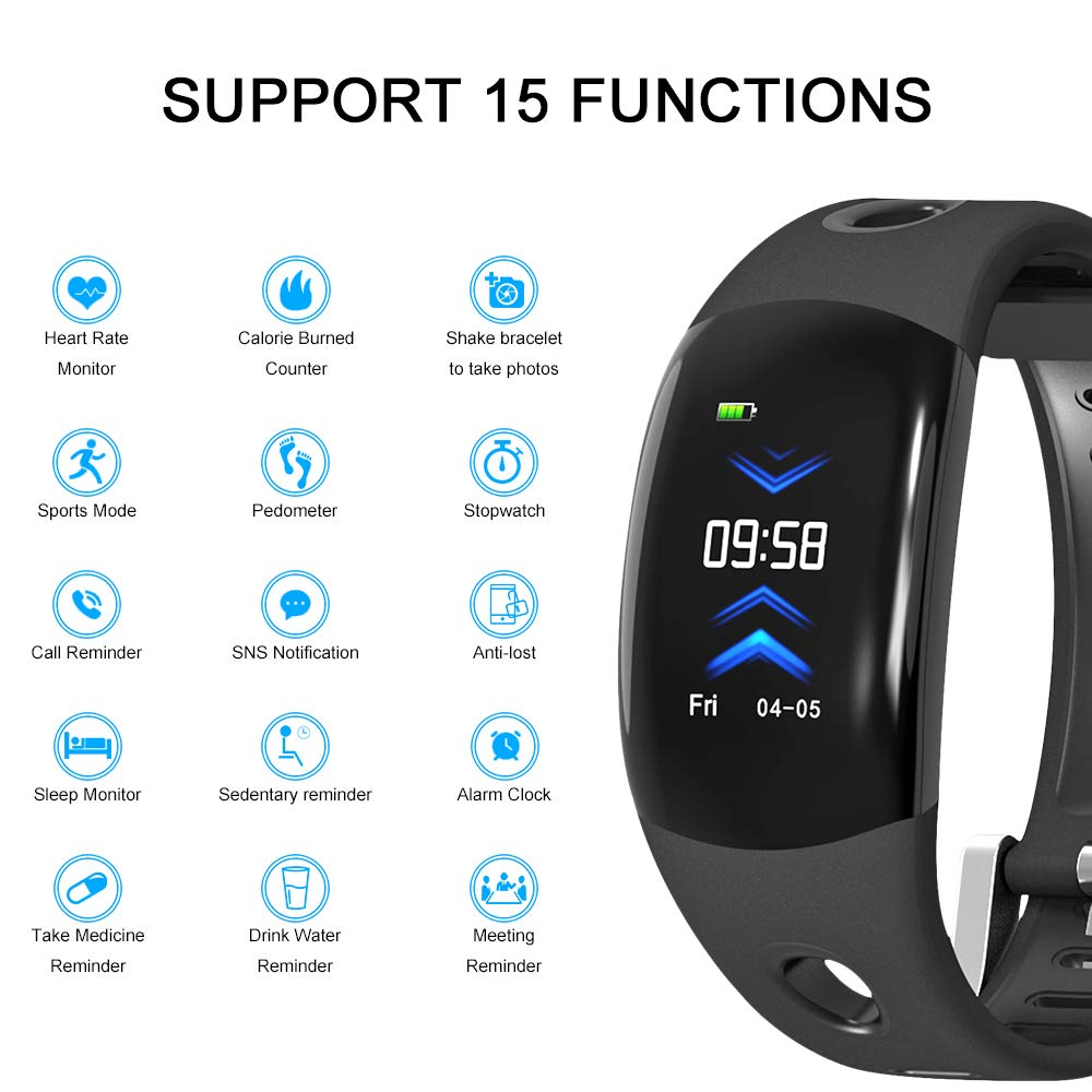 ROADTEC Fitness Tracker Smart Wristband for Kids Men Women, IP67 Waterproof Activity Tracker with Heart Rate Monitor 3D Screen Pedometer Sleep Tracker Sedentary Alert Call Reminder (Black)
