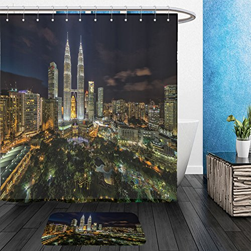 Vanfan Bathroom 2 Suits 1 Shower Curtains & 1 Floor Mats Kuala Lumpur Petronas Twin Tower during blue hour_526239715 From Bath - Eve Hours Walmart Christmas On