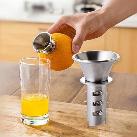 TAOtTAO - Exprimidor Manual de limón (Acero Inoxidable, tamaño pequeño), Color Naranja