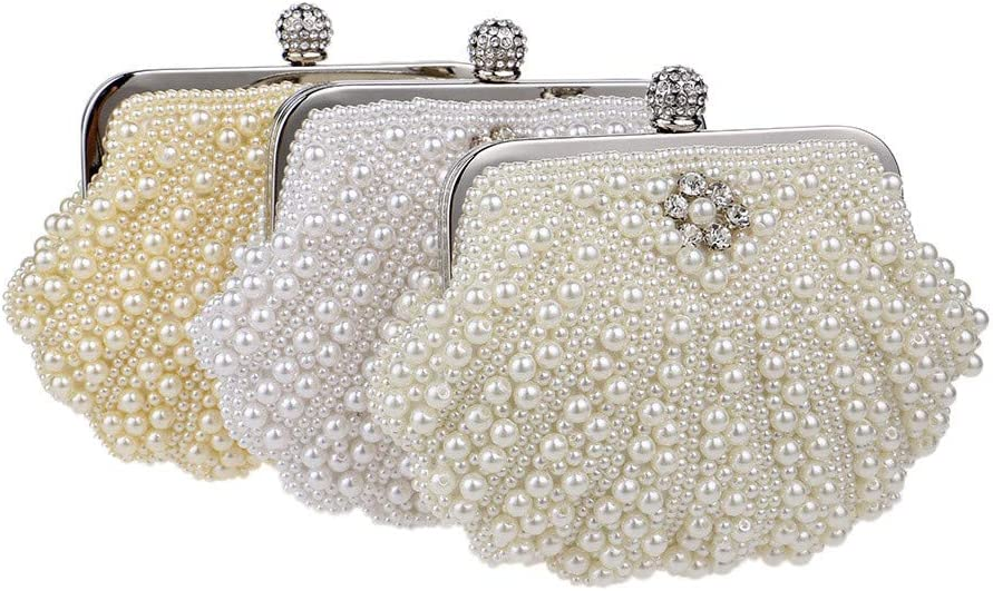 Color : Gold Party Clutch Bag Womens Pearl Banquet Bag Evening Hand Bag Spherical Evening Bag Elegant Delicate and Shining Decoration Female Hand Bag Sparkling Evening Bag