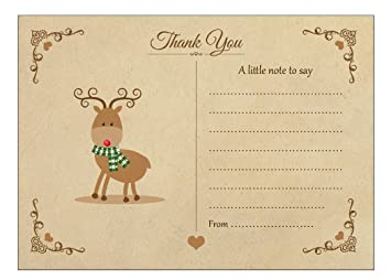 Vintage Reindeer Christmas Thank You Note Cards With Brown Kraft