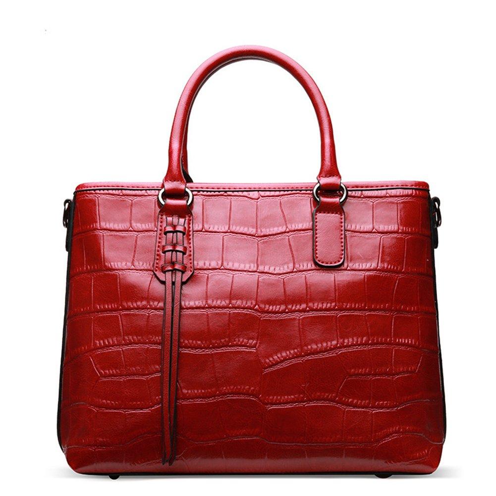 Women Genuine Leather Handbags Embossed-Crocodile Cowhide Top-handle Bags Shoulder Bags