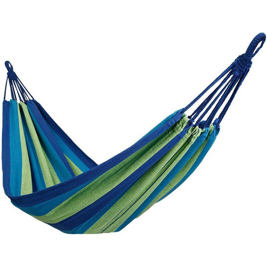 Outdoor Camping Hängematte Doppel Einzelzimmer Indoor Home Schlafsaal Hängematte Männer und Frauen Schlafsaal Schaukel Hängematte kommt mit gebundenen Seil Aufbewahrungsbeutel (blau)