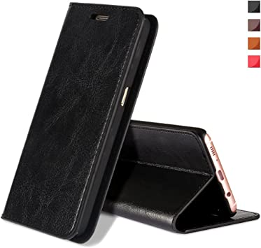 EATCYE Funda Galaxy S8, [Cuero Genuino] Prima Vintage Carcasa Libro de Cuero Estuche Plegable [Cierre Magnético] para Samsung Galaxy S8 (Negro): Amazon.es: Electrónica