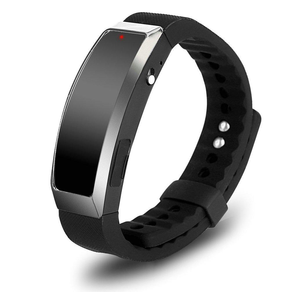 ugetde 8GB Registratore Vocale Digitale Braccialetto indossabile braccialetto Lettore MP3e USB Registrazione Audio Spy Pen–nero