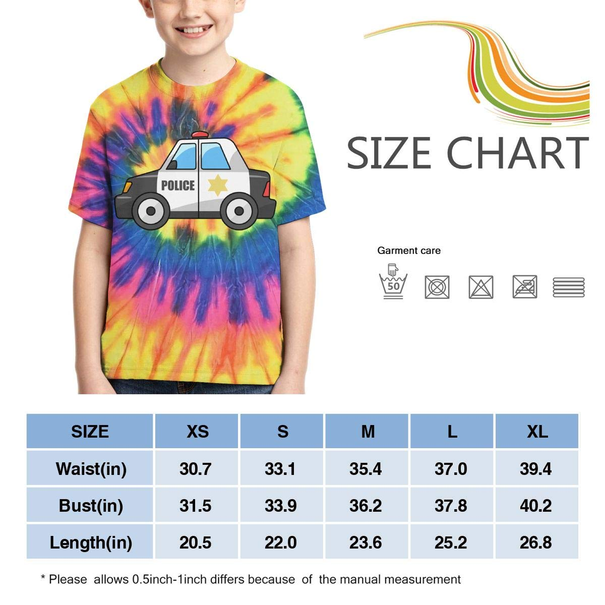 AMODECO Police Car 3D Printed Tee T-Shirt for Youth Teenager Boys Girls