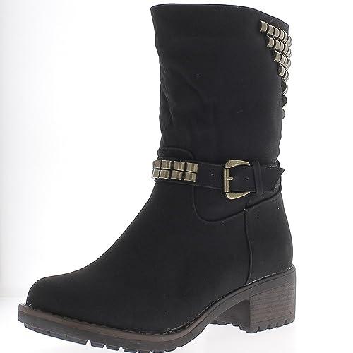 Botines mujer negro para mirar occidental con tacón de 5cm de uñas - 41: Amazon.es: Zapatos y complementos