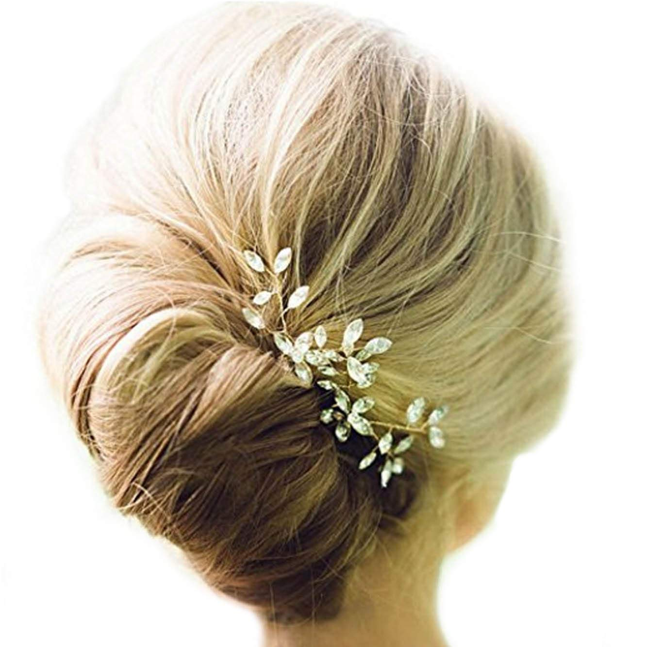 Unicra Wedding Big Rhinestone Hair Pins Decorative Wedding Bridal Hair Accessories for Brides and Bridesmaids Pack of 2 (Gold)