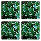 MSD Square Coasters Non-Slip Natural Rubber Desk Coasters design 35127209 Frosted leaves of english ivy