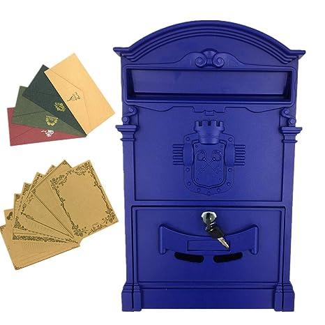 yahead exterior buzón Retro Vintage Europea caja de aluminio montado en la pared caja de correos