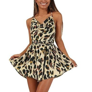 0c5534b929 Women Playsuit Sale Summer Jumpsuits Beach Playsuits Sunday77 V-Neck  Sleeveless Leopard A-line Short Pants Backless Plus Size High Waist Loose  Beige  ...