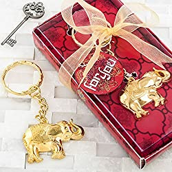 FavorOnline Gold Metal Good Luck Elephant Key Chain, 36