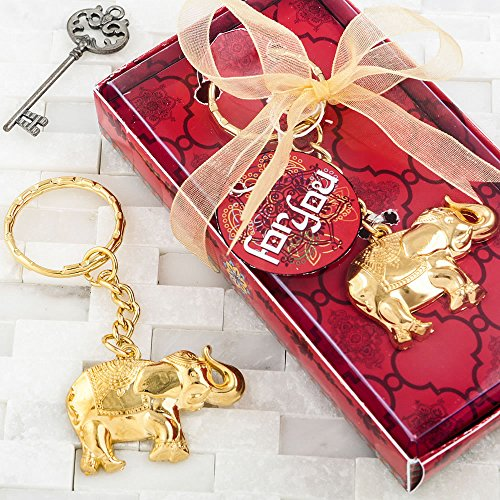 120 Gold Metal Good Luck Elephant Key Chains by Fashioncraft