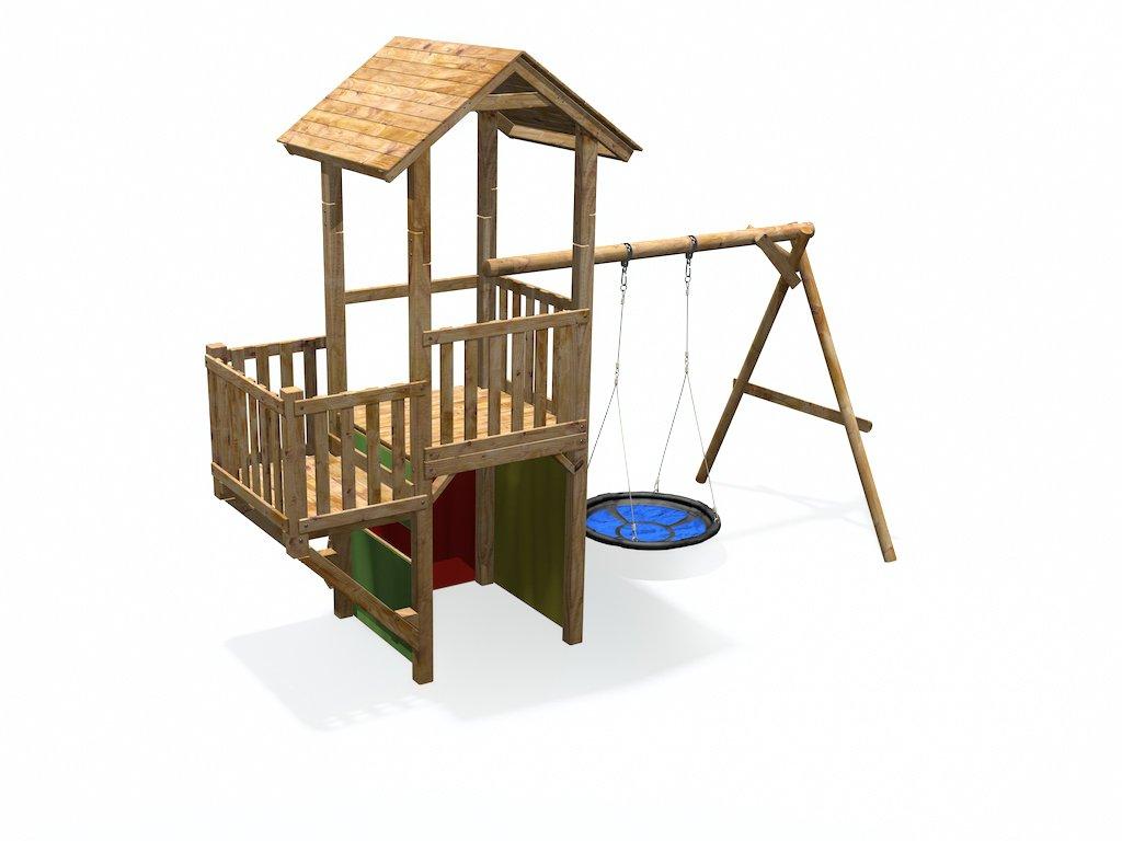 Spielturm mit Rutsche, Schaukel, Balkon, Kletterwand ...