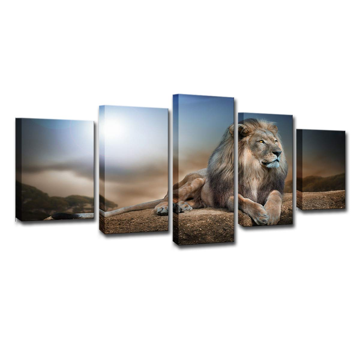 FOLOIN Modern HD Prints Pictures Framework Living Room Canvas Posters 5 Pieces Lion Animals Group Paintings Wall Art Home Decor by FOLOIN