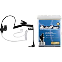 MaximalPower RHF 617-1N 3.5mm RECEIVER/LISTEN ONLY Surveillance Headset Earpiece with Clear Acoustic Coil Tube Earbud Audio Kit For Two-Way Radios, Transceivers and Radio Speaker Mics Jacks