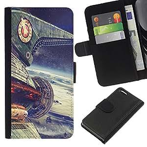 Protector de cuero de la PU de la cubierta del estilo de la carpeta del tirón BY RAYDREAMMM - Apple Iphone 5C - Planet Express