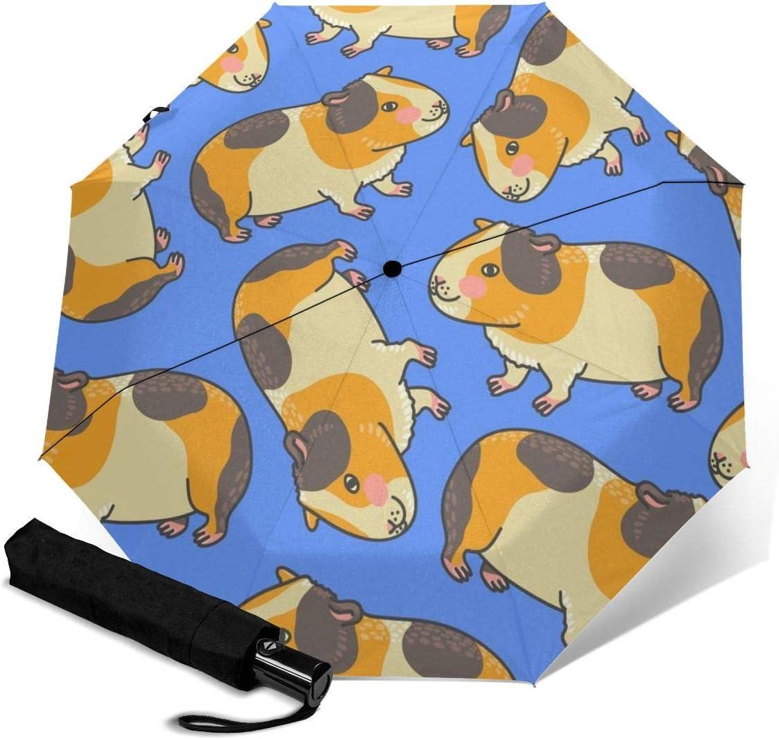 Cute Dibujos Animados Conejillo de Indias con un Rubor Paraguas de Viaje para Mujeres, sombrillas para Mujeres, Paraguas compactos para Lluvia y operación con una Sola Mano