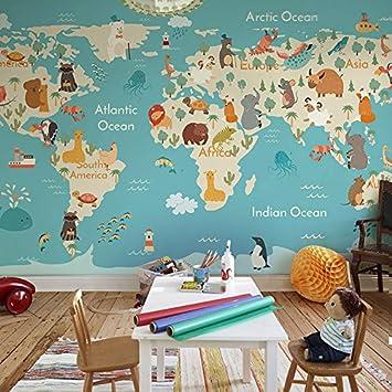 Yosot Mural Mapa Del Mundo De Dibujos Animados En 3D Papel pintado De La Habitaci/ón De Los Ni/ños Boy Dormitorio Papel pintado No Tejida-140Cmx100Cm
