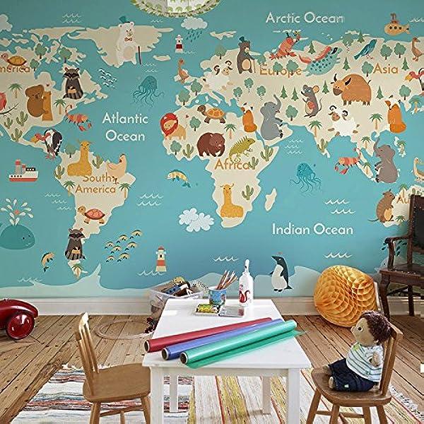Yosot Mural Mapa Del Mundo De Dibujos Animados En 3D Papel pintado De La Habitación De Los Niños Boy Dormitorio Papel pintado No Tejida-200Cmx140Cm: Amazon.es: Bricolaje y herramientas