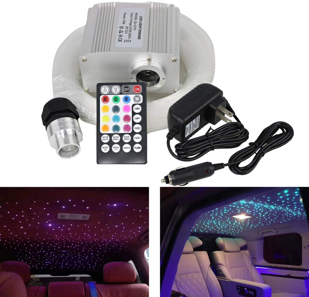 AZIMOM 10W Twinkle RGBW LED Fiber Optic Star Ceiling Light Kit with RF 28 Key Music Control Remote for Indoor Car Interior Decoration 200pcs 6.5ft 0.75mm
