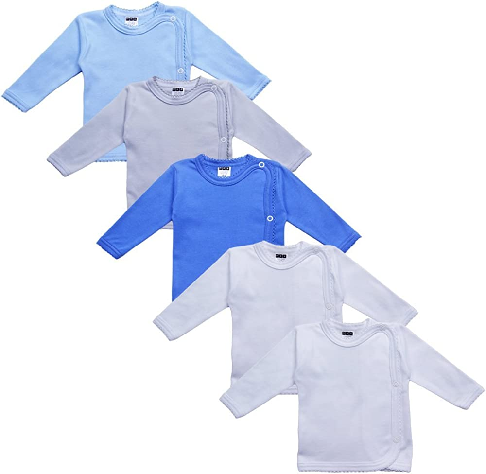 Creme Wickelshirt f/ür Junge 100/% Bio-Baumwolle im 3er Pack MEA BABY Unisex Baby Wickelshirt Wickeljacke Langarm Wickelshirt f/ür M/ädchen Wickelshirt Weiss