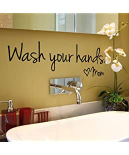 Fenleo Wash Your Hands Wall Stickers Decal Vinyl Art Mural Home Decor 44x14.4CM