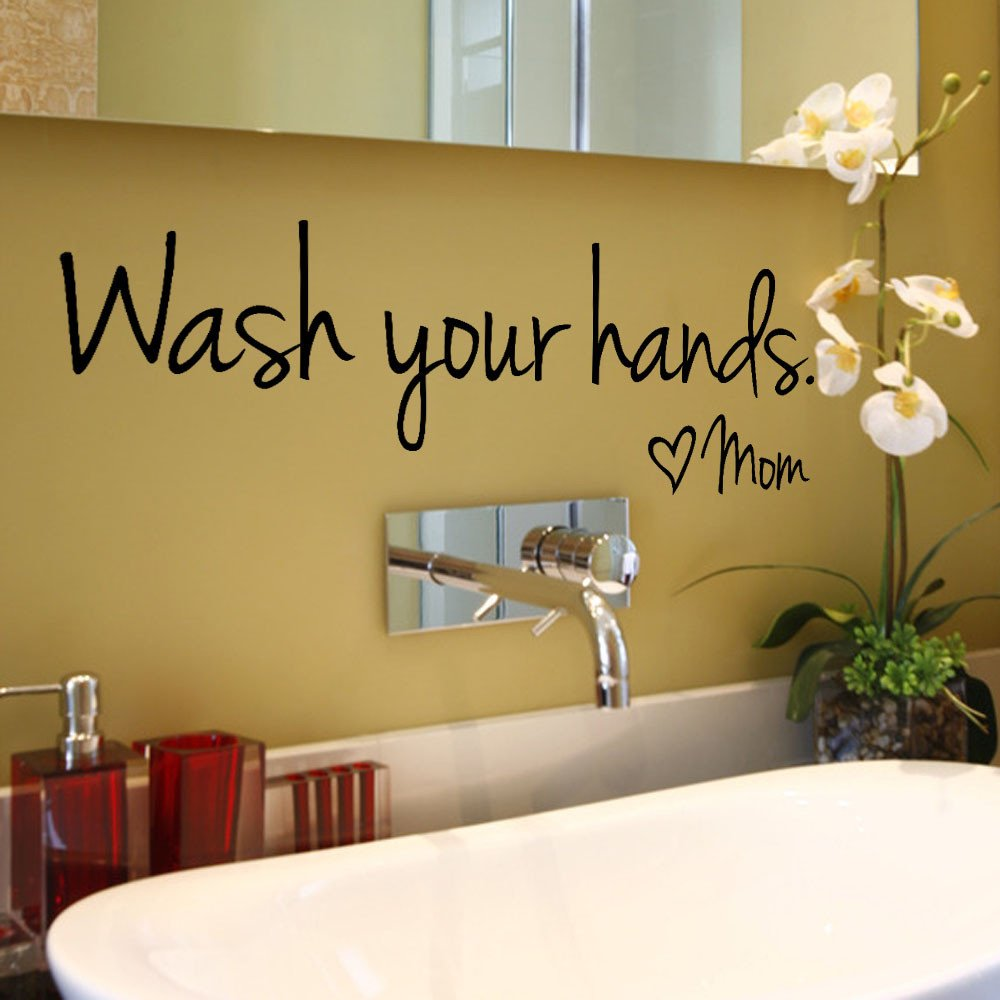 Futemo Wash Your Hands Mom Wall Sticker Decal Art Mural Wallpaper Home Decor Bedroom by Futemo (Image #2)