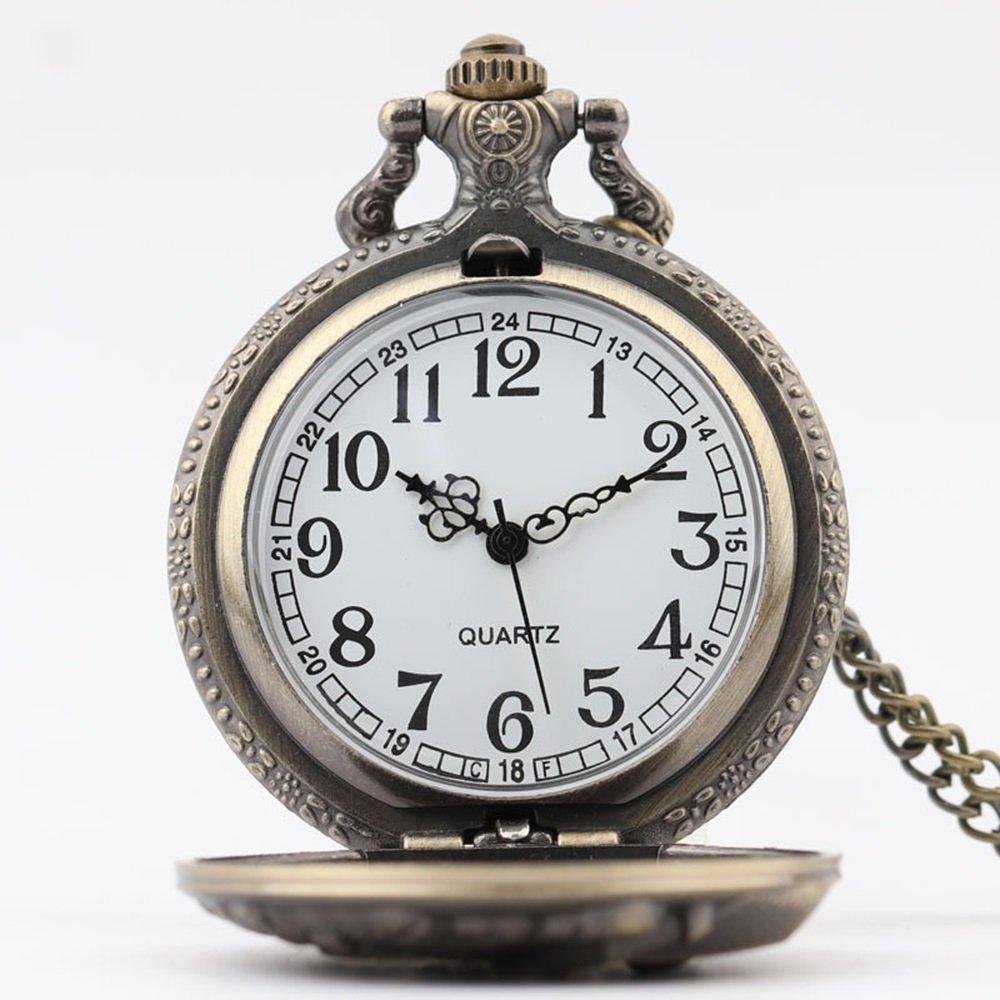 Shirleyle Vintage Bronze Quartz Pocket Watch With Chain Christmas Wedding Gift For Women Men by Shirleyle (Image #3)