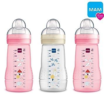 MAM Flaschen Babyflaschen 270 ml Easy Active Baby Bottle 3er Set Girl
