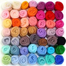 MOMODA 50 Colors Fibre Wool Yarn Roving for Needle Felting Hand Spinning DIY Craft Materials