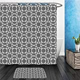 Arabian Decor Collection Geometric Pattern in Arabian Style Islamic Architecture Old Classic City Buildings Polyester Fabric Bathroom Bathroom 2 Suits 1 Shower Curtains & 1 Floor Mats Set with Hooks