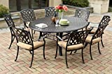 """Darlee 201630-9PC-99LD Ocean View Cast Aluminum 9 Piece Round Dining Set and Cushions, 71"""", Antique Bronze"""