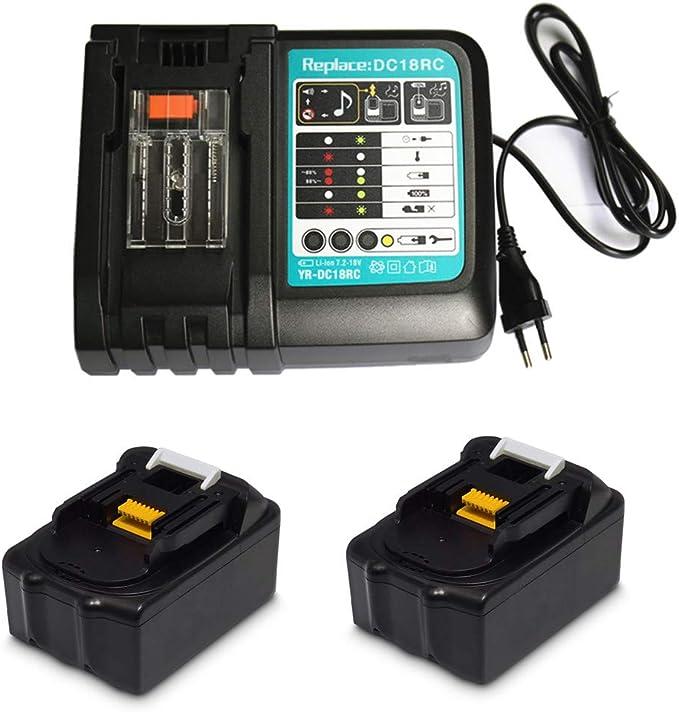 Cargador de repuesto con 2 baterías 18 V 3,0 Ah para radio Makita DMR100 DMR108 DMR107 DMR106 DMR106B DMR102 DMR104 DMR110 DMR101 DMR103B BMR102 BMR100 BMR104 18 V
