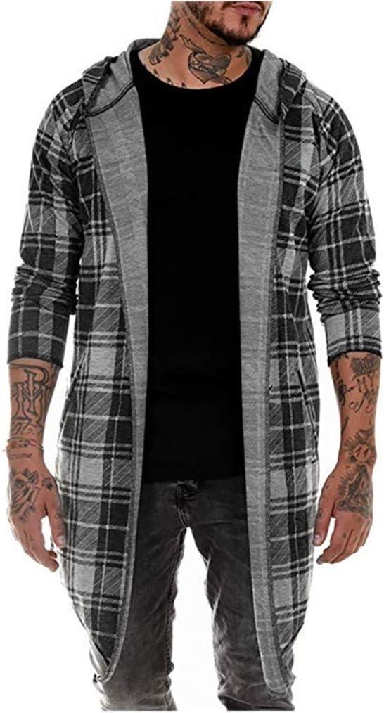 Men Hooded Long Coat, Male Striped Printed Long Sleeve Jacket Cardigan Overcoat Outwear