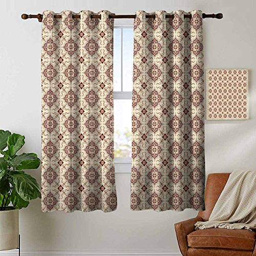 petpany backout Curtains for Bedroom Geometric,Oriental Inspirations in Symmetrical Floral Arrangement Vintage,Redwood Cream Pale Orange,Pocket Thermal Insulated Tie Up Curtain 42