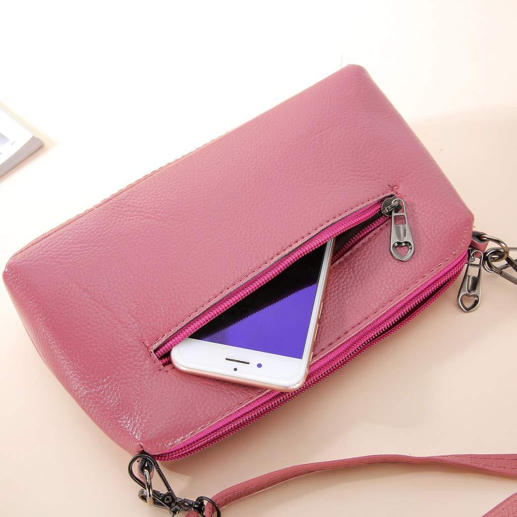 Kiminana Messenger Bags,Women's Fashion Simple Embroidery Multi-Function Zipper Shoulder Diagonal Package Pink by Kiminana (Image #6)