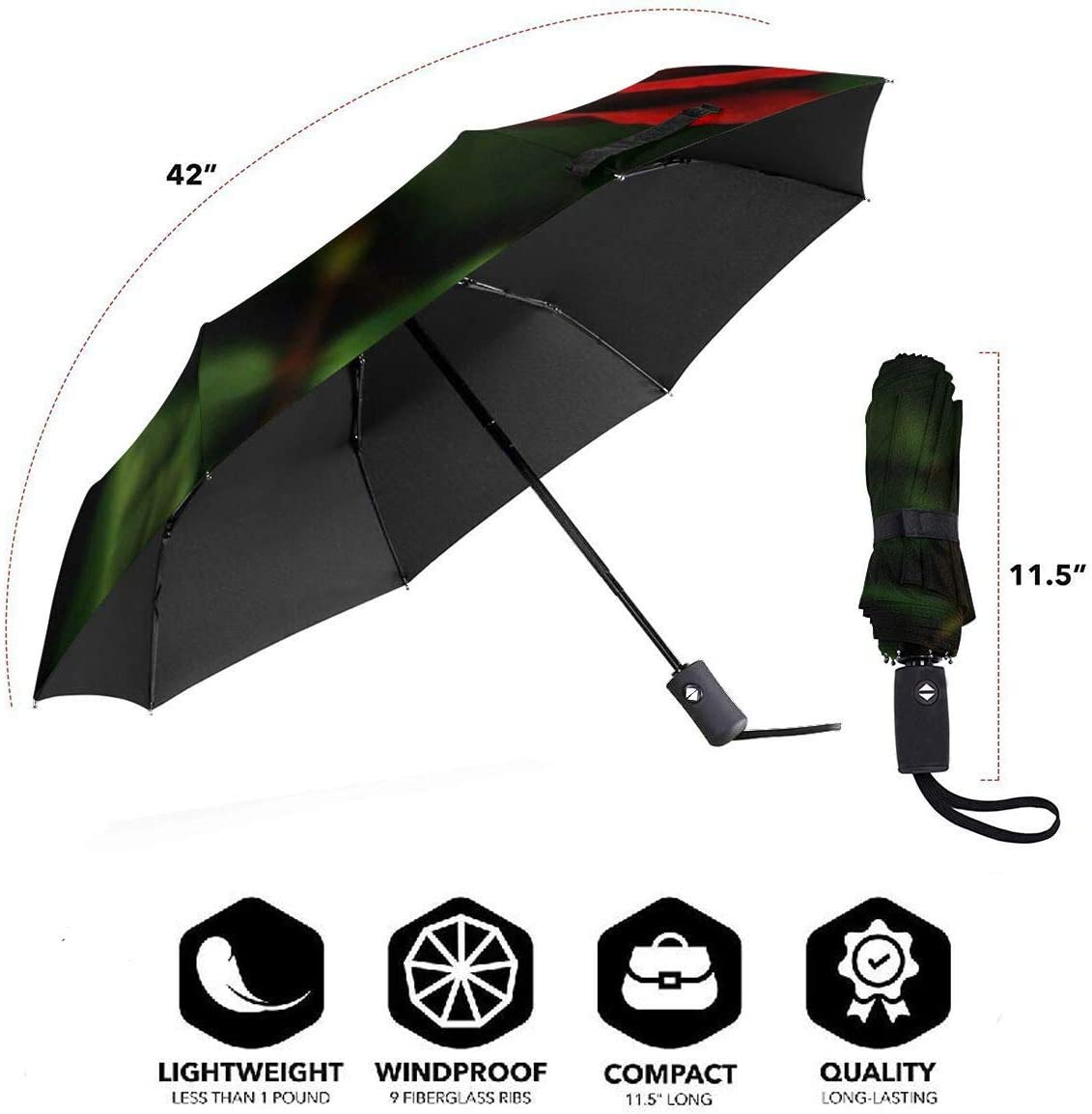 Dark Rose Automatic Windproof Travel Umbrella Compact Canopy With Black Glue And UV-resistant Coating