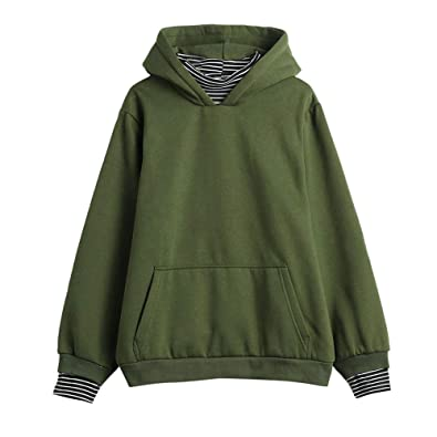 Amiley Women s Solid Pullover Hoodies Sweatshirts with Pocket Striped Long  Sleeve Round Neck Casual Tops ( 551cab6159