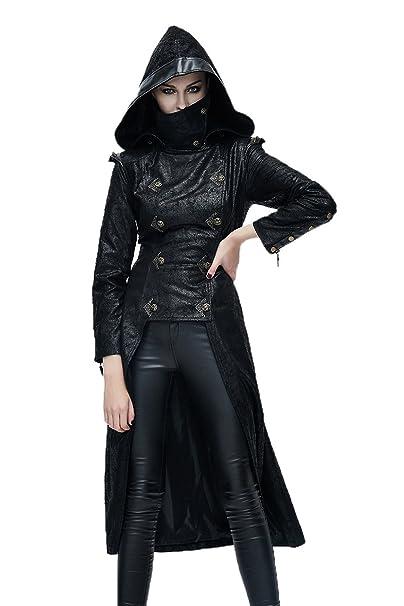 Gothic Punk Ladies Ninja Style chaquetas largas con capucha ...