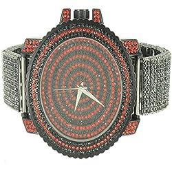 Black Red Men Custom Techno Pave Rapper Style XL Bling King Men Wristwatch Sale