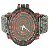 Black Red Men Custom Techno Pave Rapper Style XL Bling King Men Wristwatch Sale