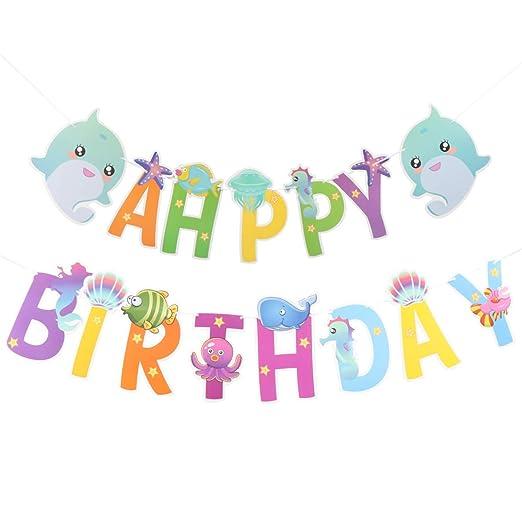 Amosfun banner de cumpleaños feliz cumpleaños carta dibujos ...