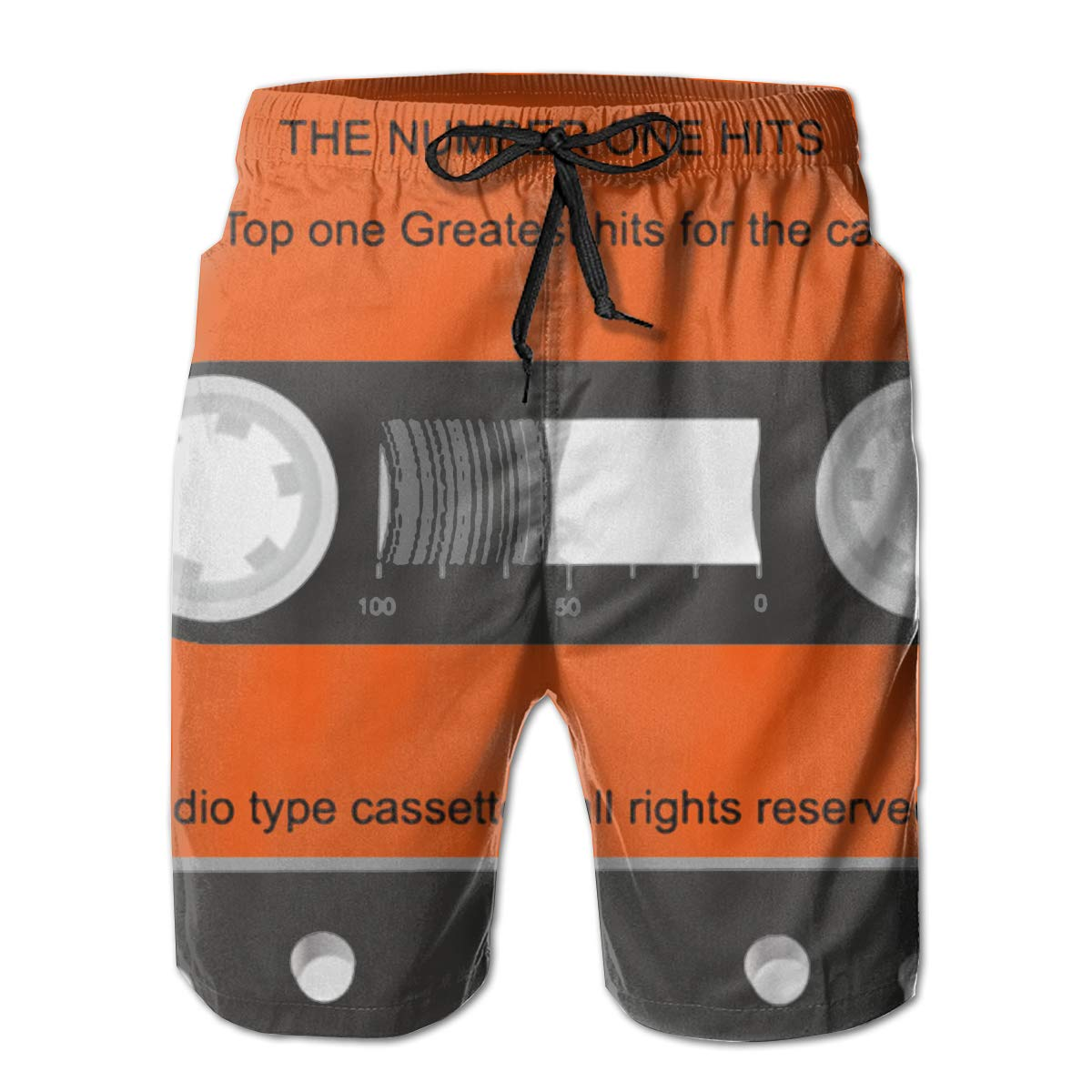 Feimao Audio Type Cassette Mens Board Shorts Summer Casual Swim Trunk with Pockets