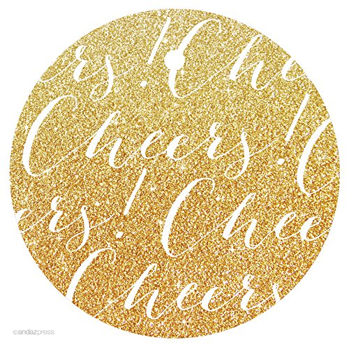 Andaz Press Circle Gift Tags, Chic Style, Cheers!, Printed Gold Glitter, 24-Pack