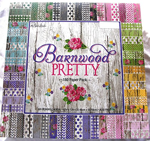 Barnwood Pretty 12×12 Scrapbooking Paper Pack 180 Sheets Chevron, Dots, Roses, Gingham, Country, Shabby, Farm Vintage, Old Wood
