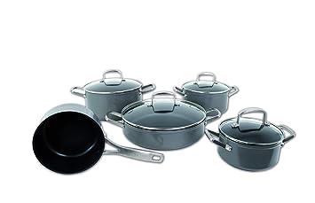 Arcos Serie Endura - Juego de Cacerolas de 5 piezas (1 Cazo + 4 Cacerolas) - Antiadherente - Aluminio Forjado - Mango de Acero Inoxidable - Color Negro: ...