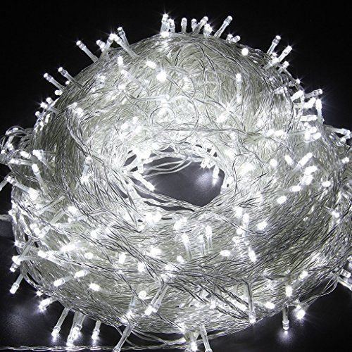 FULLBELL Christmas String Lights, 33ft 100 LEDs with Controller Fairy Twinkle Lights Decoration for Chirstmas Tree,Garden,Multi Stings Connectable(Transparent Wire)(White)